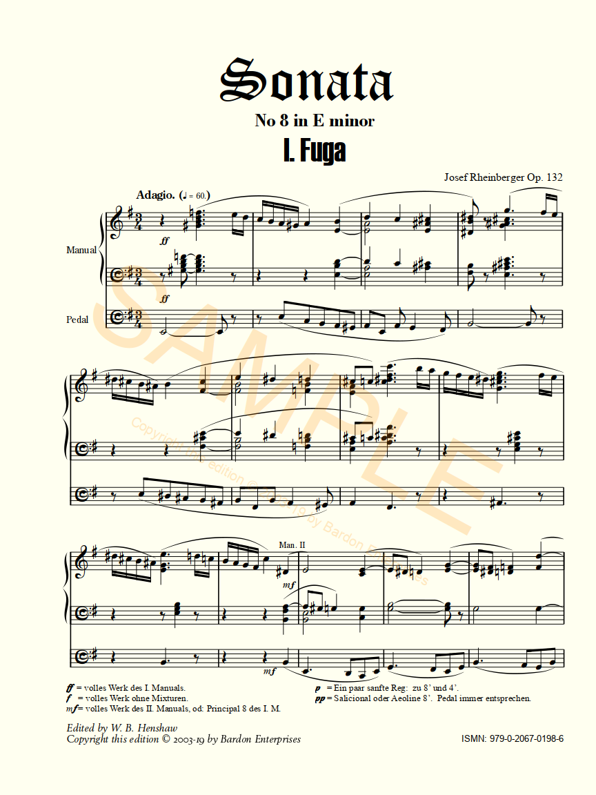 Bardon Music | Organ Sheet Music | Josef Rheinberger | Sonata No 8 ...