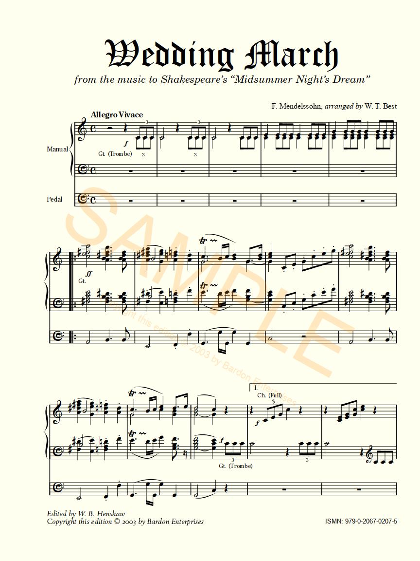 Bardon Music Organ Sheet Felix Mendelssohn Bartholdy Wedding March Cgsmusic