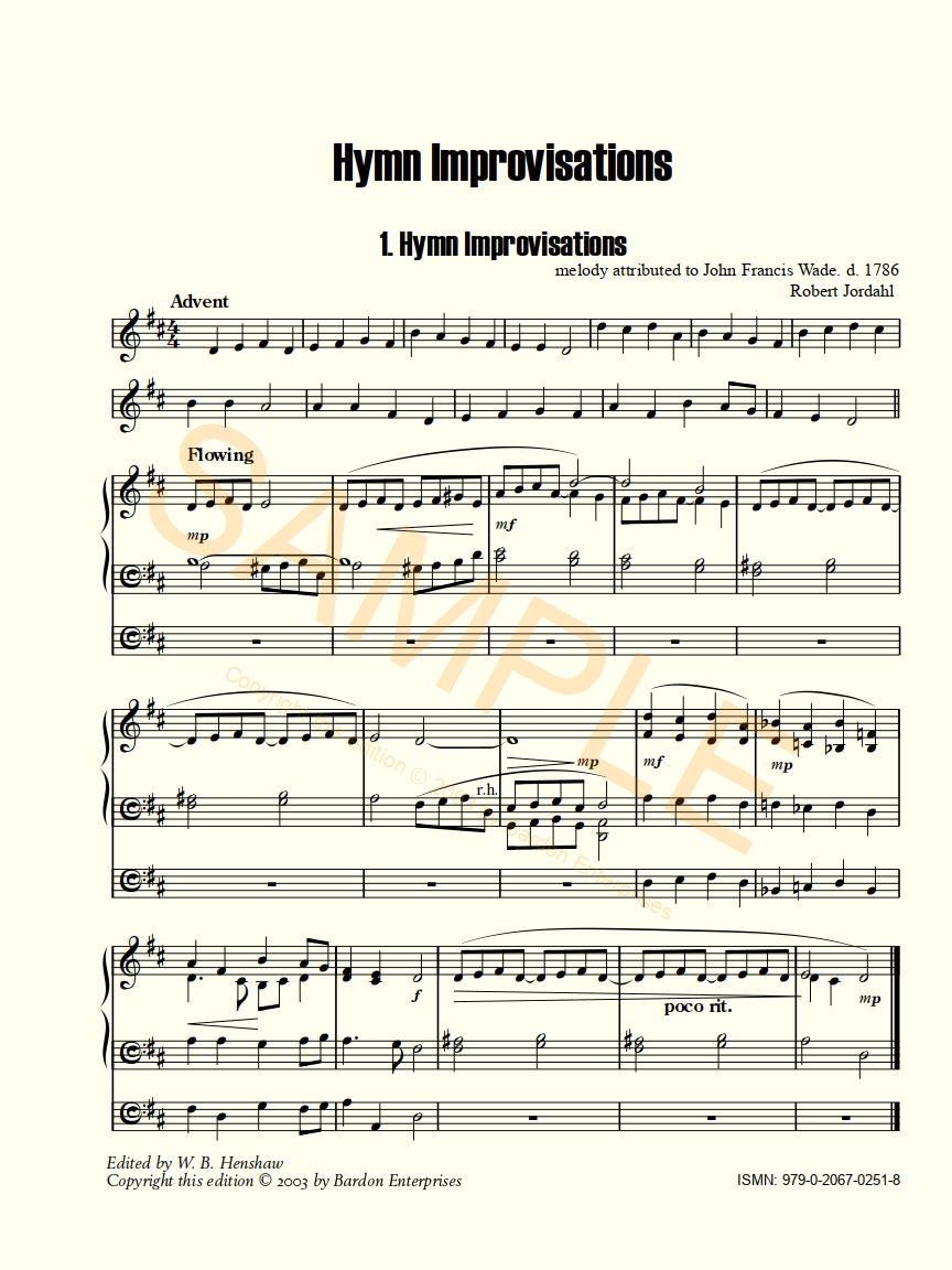 Hymn Improvisations for the Church Year for organ by Robert Jordahl