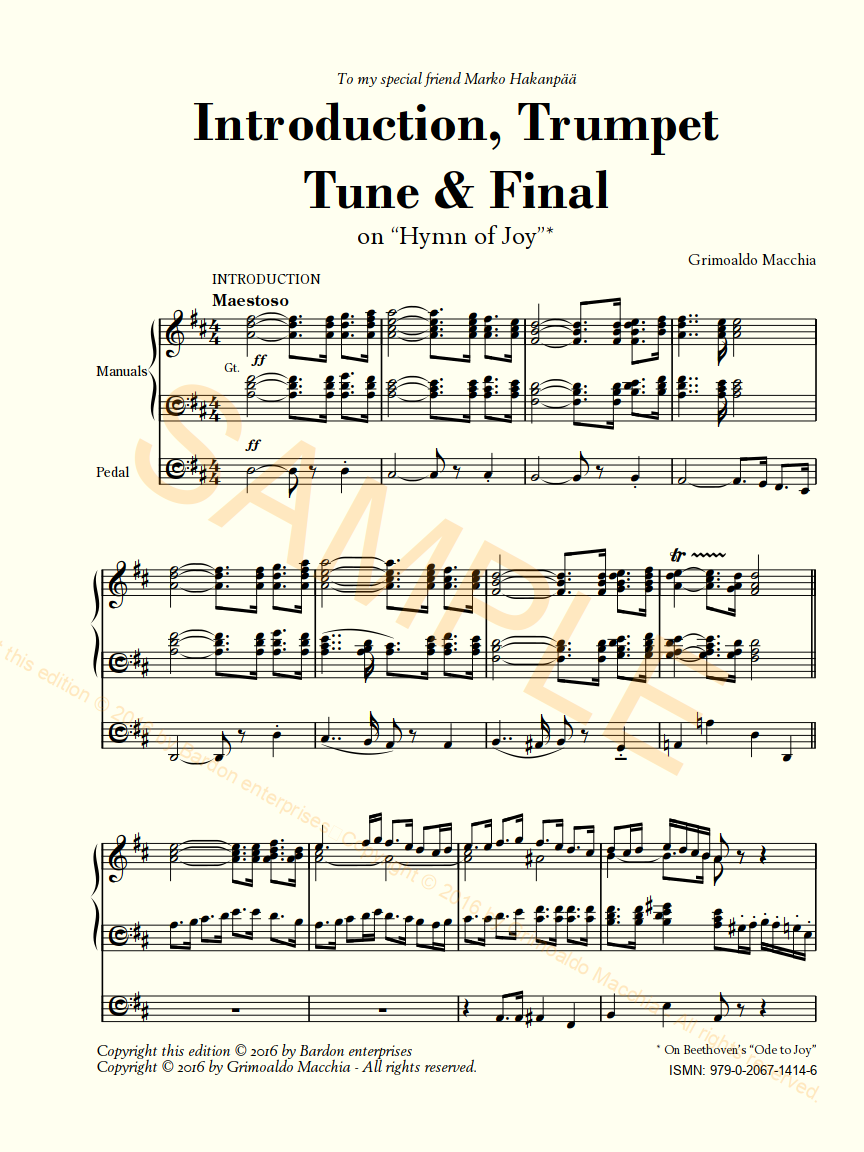"Introduction, Trumpet Tune & finale on ""Hymn of Joy"" for organ by Grimoaldo  Macchia"